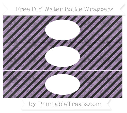 Free Wisteria Diagonal Striped Chalk Style DIY Water Bottle Wrappers