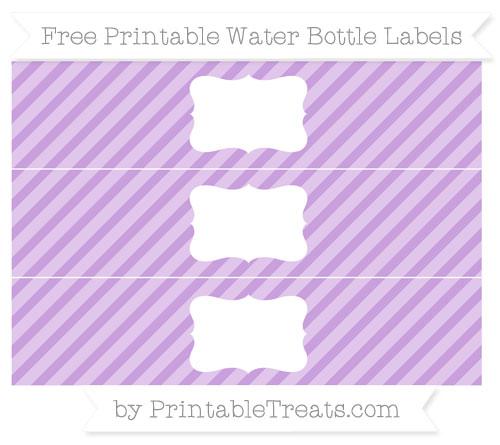 Free Wisteria Diagonal Striped Water Bottle Labels