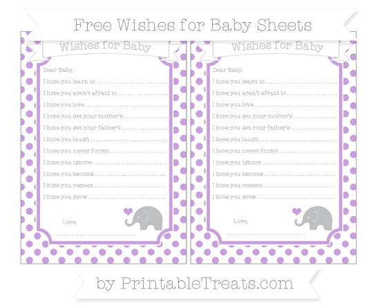 Free Wisteria Dotted Pattern Baby Elephant Wishes for Baby Sheets