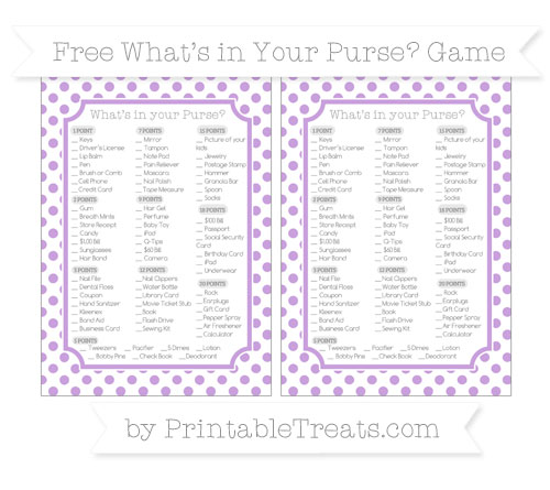Free Wisteria Dotted Pattern What's in Your Purse Baby Shower Game