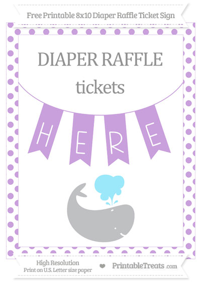 Free Wisteria Dotted Whale 8x10 Diaper Raffle Ticket Sign