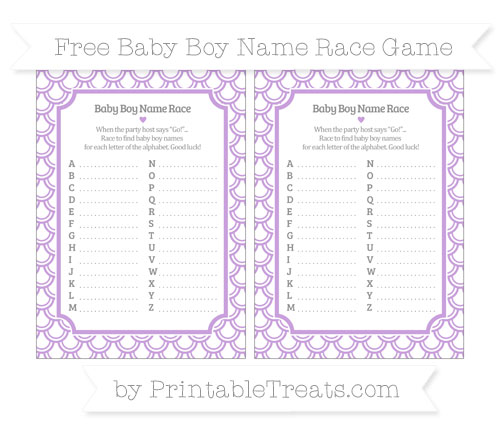 Free Wisteria Fish Scale Pattern Baby Boy Name Race Game