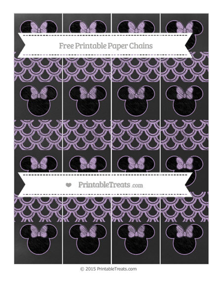 Free Wisteria Fish Scale Pattern Chalk Style Minnie Mouse Paper Chains