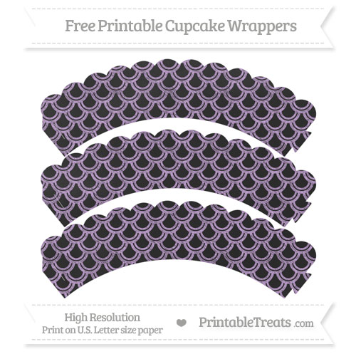 Free Wisteria Fish Scale Pattern Chalk Style Scalloped Cupcake Wrappers