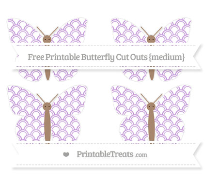 Free Wisteria Fish Scale Pattern Medium Butterfly Cut Outs