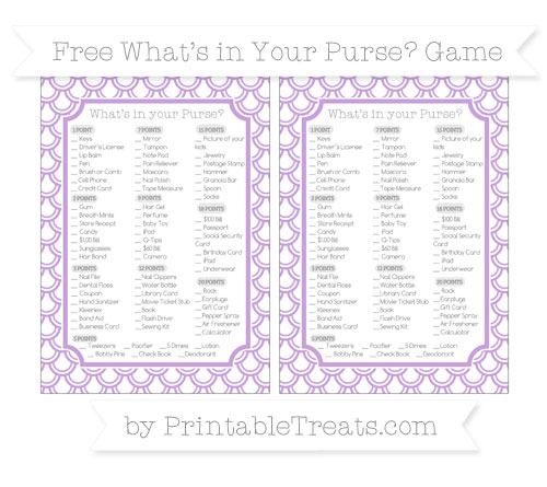 Free Wisteria Fish Scale Pattern What's in Your Purse Baby Shower Game