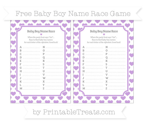Free Wisteria Heart Pattern Baby Boy Name Race Game