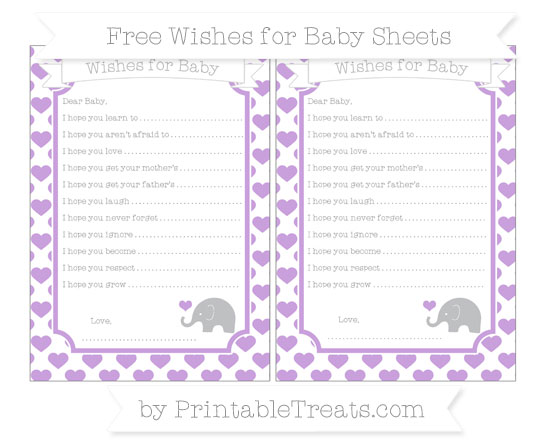 Free Wisteria Heart Pattern Baby Elephant Wishes for Baby Sheets