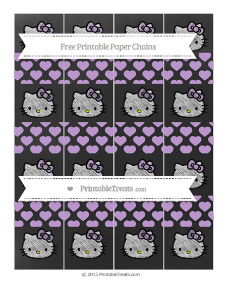 Free Wisteria Heart Pattern Chalk Style Hello Kitty Paper Chains