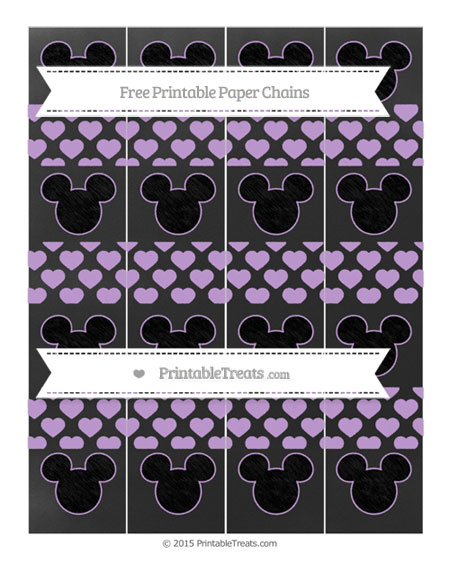 Free Wisteria Heart Pattern Chalk Style Mickey Mouse Paper Chains