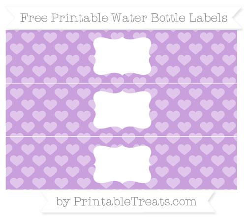 Free Wisteria Heart Pattern Water Bottle Labels