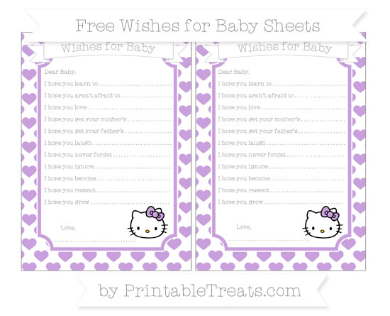 Free Wisteria Heart Pattern Hello Kitty Wishes for Baby Sheets