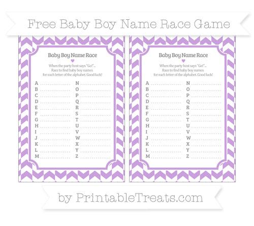 Free Wisteria Herringbone Pattern Baby Boy Name Race Game