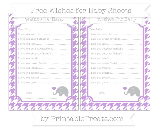 Free Wisteria Houndstooth Pattern Baby Elephant Wishes for Baby Sheets