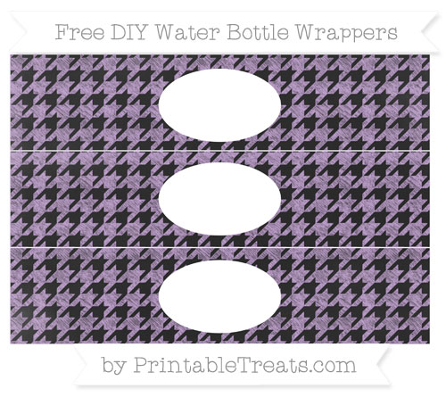 Free Wisteria Houndstooth Pattern Chalk Style DIY Water Bottle Wrappers