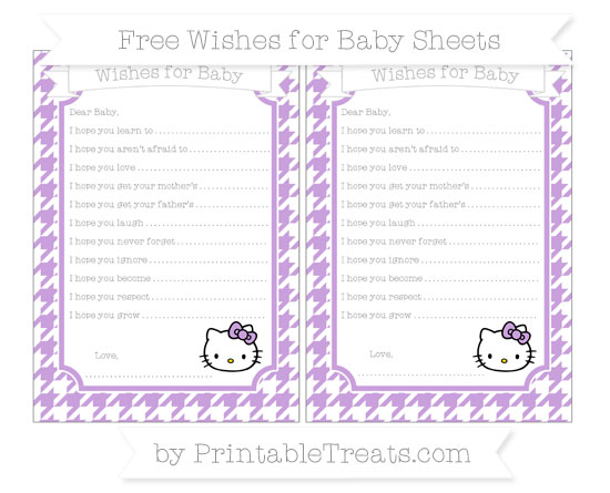 Free Wisteria Houndstooth Pattern Hello Kitty Wishes for Baby Sheets