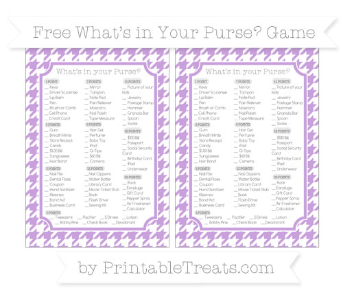 Free Wisteria Houndstooth Pattern What's in Your Purse Baby Shower Game