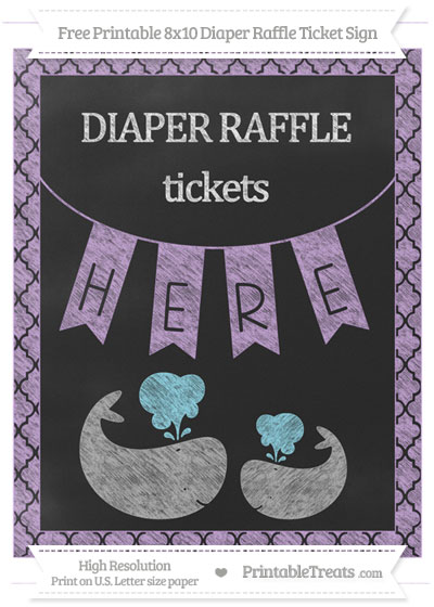 Free Wisteria Moroccan Tile Chalk Style Baby Whale 8x10 Diaper Raffle Ticket Sign