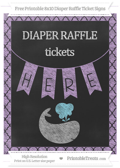 Free Wisteria Moroccan Tile Chalk Style Whale 8x10 Diaper Raffle Ticket Sign