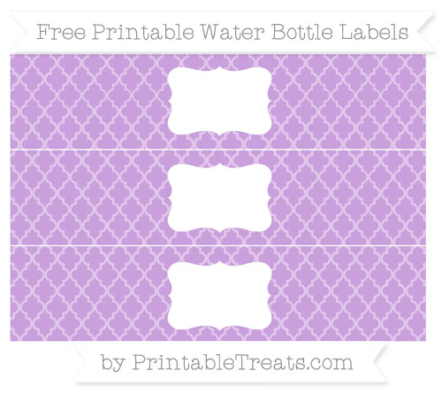 Free Wisteria Moroccan Tile Water Bottle Labels