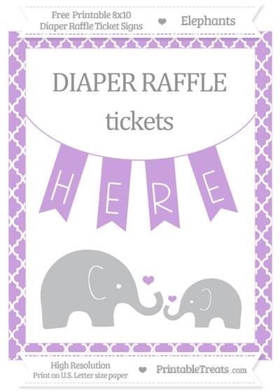 Free Wisteria Moroccan Tile Elephant 8x10 Diaper Raffle Ticket Sign