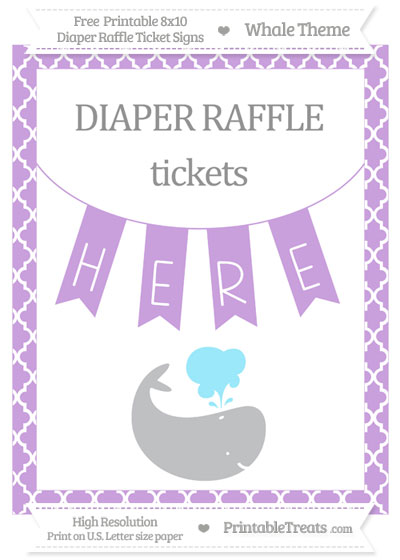 Free Wisteria Moroccan Tile Whale 8x10 Diaper Raffle Ticket Sign