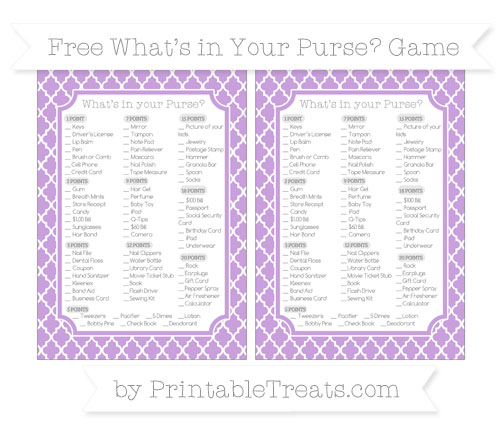 Free Wisteria Moroccan Tile What's in Your Purse Baby Shower Game