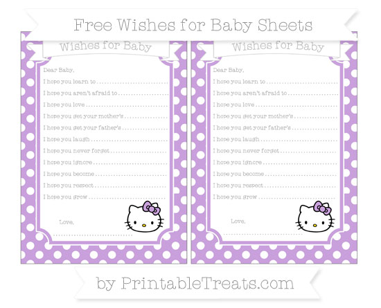 Free Wisteria Polka Dot Hello Kitty Wishes for Baby Sheets