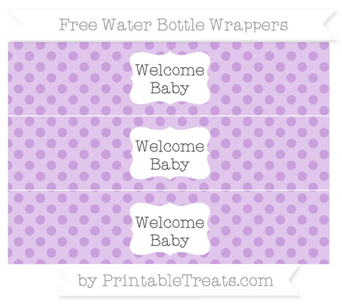 Free Wisteria Polka Dot Welcome Baby Water Bottle Wrappers