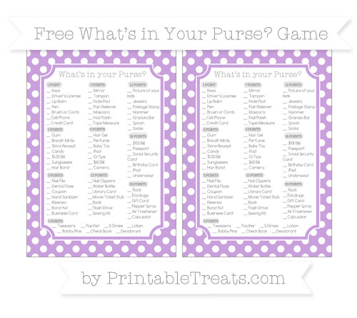 Free Wisteria Polka Dot What's in Your Purse Baby Shower Game
