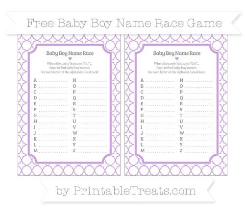 Free Wisteria Quatrefoil Pattern Baby Boy Name Race Game