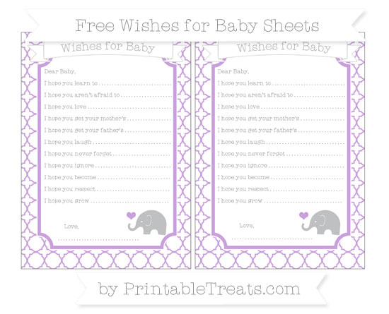 Free Wisteria Quatrefoil Pattern Baby Elephant Wishes for Baby Sheets