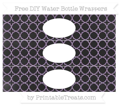 Free Wisteria Quatrefoil Pattern Chalk Style DIY Water Bottle Wrappers