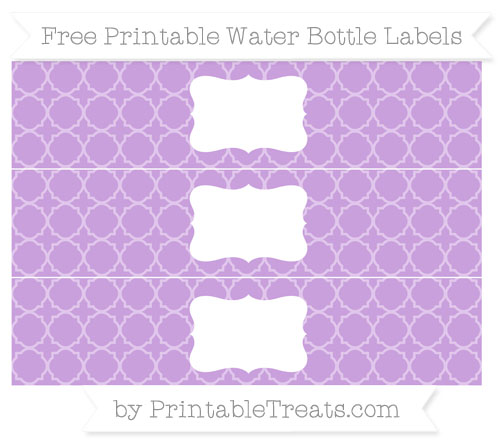 Free Wisteria Quatrefoil Pattern Water Bottle Labels