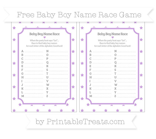 Free Wisteria Star Pattern Baby Boy Name Race Game
