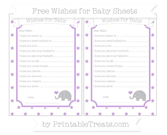Free Wisteria Star Pattern Baby Elephant Wishes for Baby Sheets