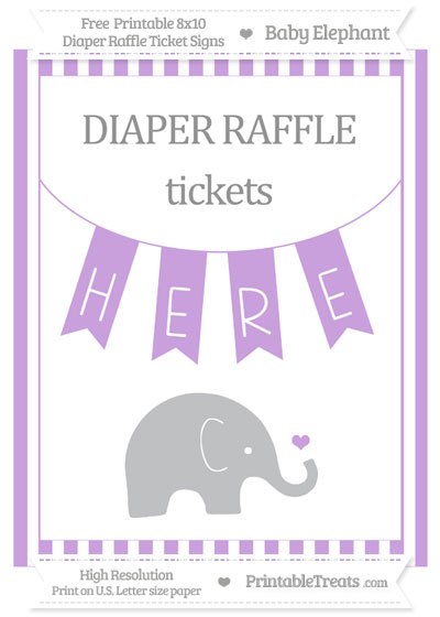 Free Wisteria Striped Baby Elephant 8x10 Diaper Raffle Ticket Sign