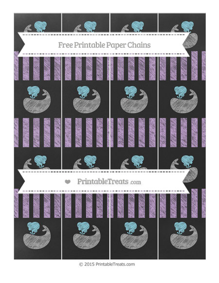 Free Wisteria Striped Chalk Style Whale Paper Chains