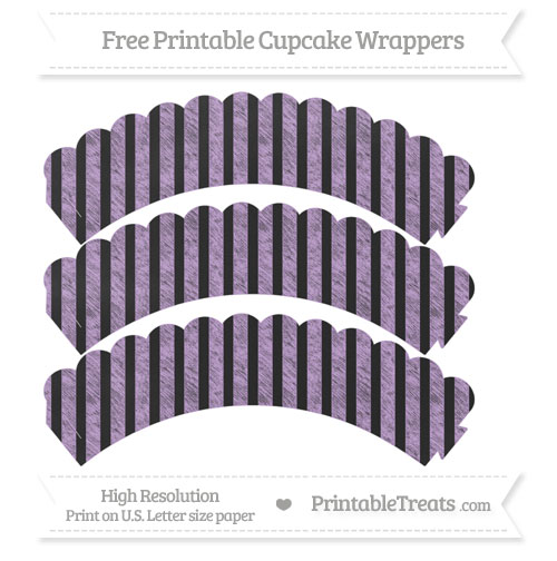 Free Wisteria Striped Pattern Chalk Style Scalloped Cupcake Wrappers