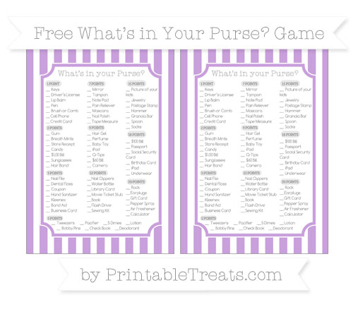 Free Wisteria Striped What's in Your Purse Baby Shower Game