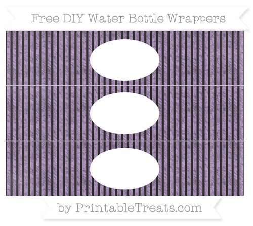 Free Wisteria Thin Striped Pattern Chalk Style DIY Water Bottle Wrappers