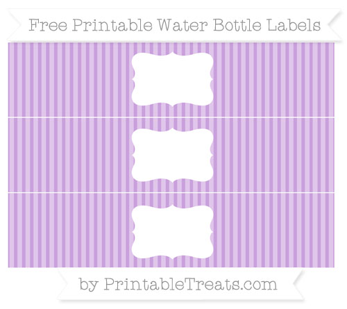 Free Wisteria Thin Striped Pattern Water Bottle Labels