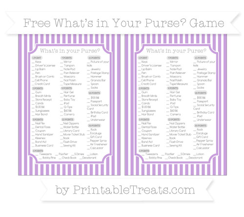 Free Wisteria Thin Striped Pattern What's in Your Purse Baby Shower Game