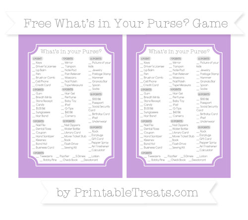 Free Wisteria What's in Your Purse Baby Shower Game