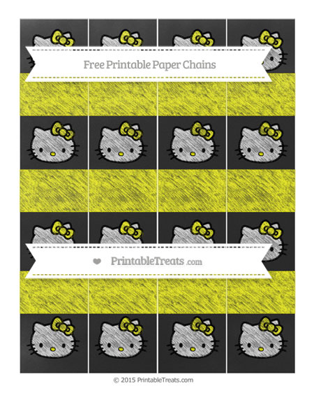 Free Yellow Chalk Style Hello Kitty Paper Chains