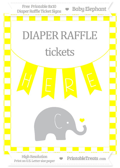 Free Yellow Checker Pattern Baby Elephant 8x10 Diaper Raffle Ticket Sign