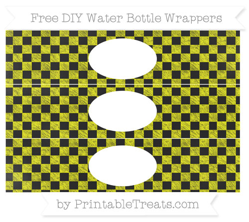 Free Yellow Checker Pattern Chalk Style DIY Water Bottle Wrappers