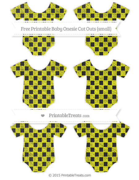 Free Yellow Checker Pattern Chalk Style Small Baby Onesie Cut Outs