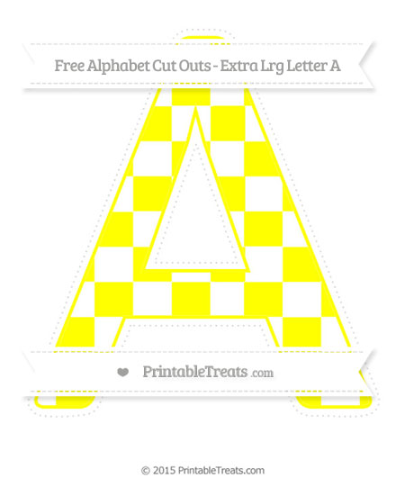 Free Yellow Checker Pattern Extra Large Capital Letter A Cut Outs