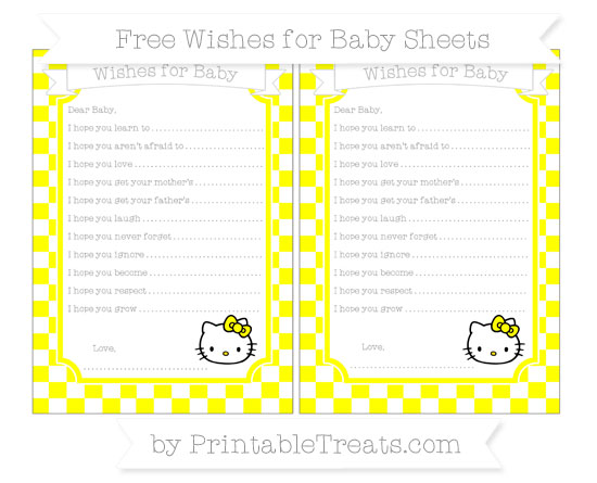 Free Yellow Checker Pattern Hello Kitty Wishes for Baby Sheets